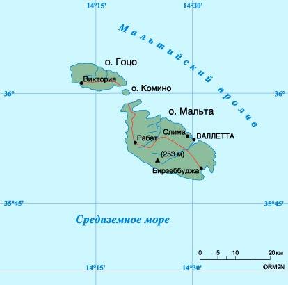 Карта Мальты.  Нажмите, чтобы закрыть окно
